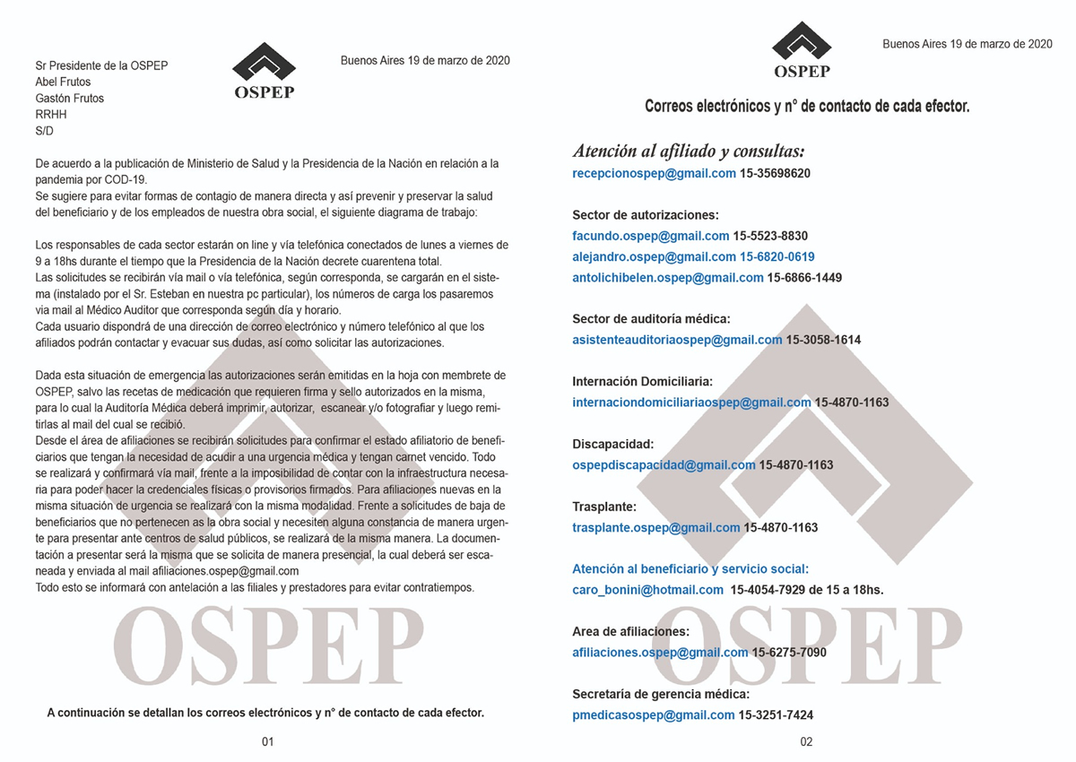 Info Contacto OSPEP